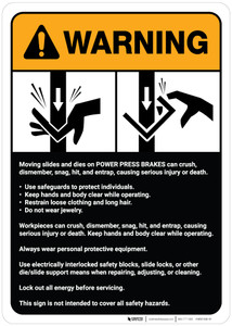 Warning: Power Press Breaks Guidelines ANSI - Wall Sign