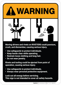 Warning: Rivits and Riviters Machine Guidelines ANSI - Wall Sign