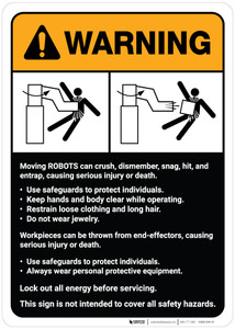 Warning: Robot Crush Warning and Guidelines ANSI - Wall Sign