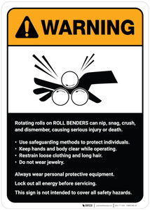 Warning: Roll Benders Guidelines ANSI - Wall Sign