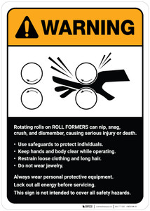 Warning: Roll Formers Guidelines ANSI - Wall Sign