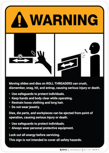 Warning: Roll Threaders Guidelines ANSI - Wall Sign