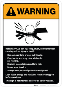 Warning: Rotating Rolls Machine Guidelines ANSI - Wall Sign