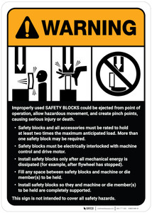 Warning: Safety Blocks Guidelines ANSI - Wall Sign