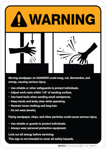 Warning: Sander Machine Guidelines ANSI - Wall Sign