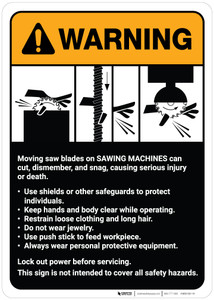 Warning: Danger: Sawing Machine Guidelines ANSI - Wall Sign