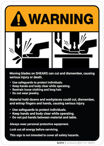 Warning: Moving Blades and Shears Guidelines ANSI - Wall Sign