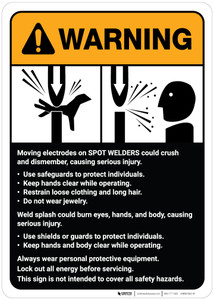 Warning: Spot Welder Machine Guidelines ANSI - Wall Sign