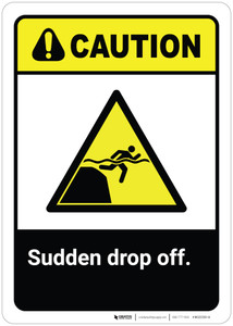 Caution: Sudden Drop Off ANSI - Wall Sign