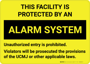 This Facility is Protected by an Alarm System - Wall Sign