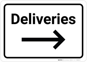 Deliveries with Arrow Right - Wall Sign