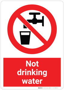 Not Drinking Water with Pictogram - Wall Sign