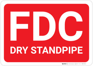 FDC Dry Standpipe Down Background - Wall Sign