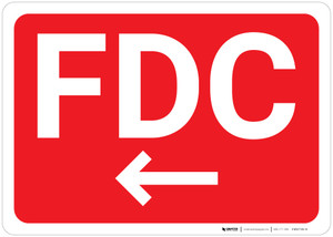 FDC Arrow Left Red Background - Wall Sign