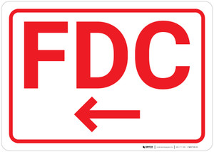 FDC Arrow Left White Background - Wall Sign
