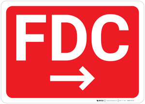 FDC Arrow Right Red Background - Wall Sign