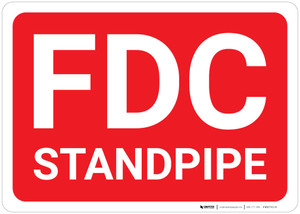 FDC Standpipe Red Background - Wall Sign