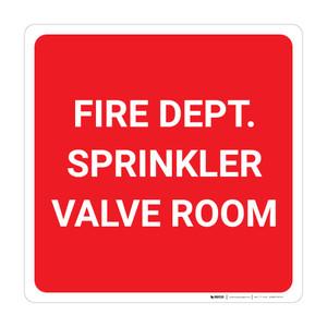 Fire Dept. Sprinkler Valve Room - Wall Sign