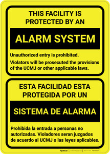 Facility is Protected by an Alarm System - Bilingual Spanish - Wall Sign