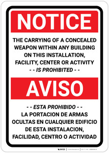 Notice: Carrying of Concealed Weapon is Prohibited - Bilingual Spanish - Wall Sign