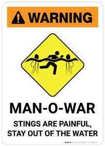 Warning: Man-O-War Stings are Painful - Stay Out of the Water - Wall Sign
