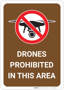 Drones Prohibited in This Area - Wall Sign