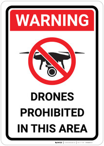 Warning: Drones Prohibited in This Area - Wall Sign