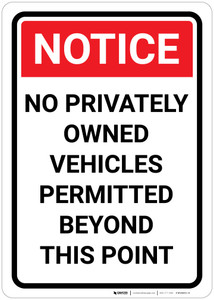 Notice: No Privately Owned Vehicles Permitted Beyond This Point - Wall Sign