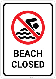 Beach Closed with Pictogram - Wall Sign