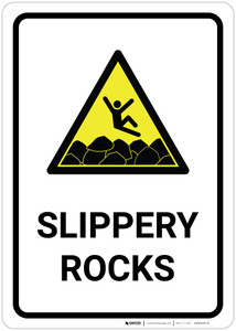 Slippery Rocks with Pictogram - Wall Sign