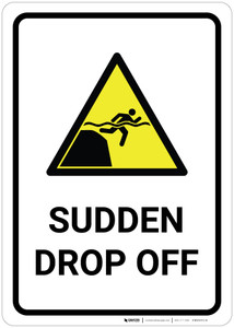 Sudden Drop Off with Pictogram - Wall Sign