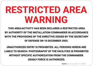 Restricted Area Warning - Wall Sign