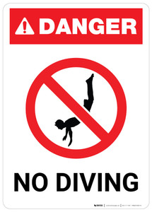 Danger: No Diving with Icon - Wall Sign