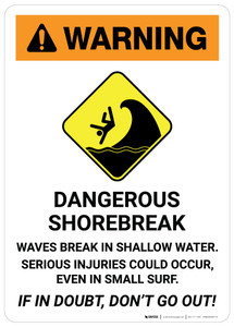 Warning: Dangerous Shorebreak with Icon - Wall Sign
