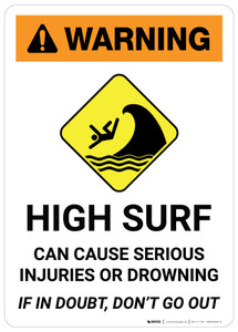 Warning: High Surf with Icon - Wall Sign