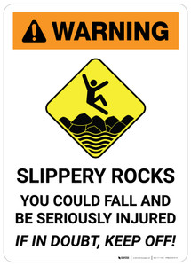 Warning: Slippery Rocks with Icon - Wall Sign