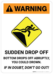 Warning: Sudden Drop Off with Icon - Wall Sign