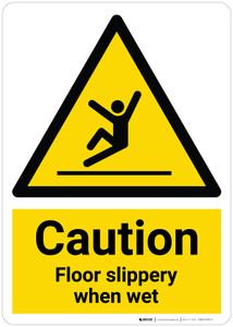 Caution: Floor Slippery When Wet with Pictogram - Wall Sign