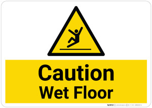 Caution: Wet Floor with Pictogram - Wall Sign