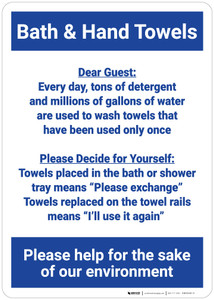 Bath & Hand Towels/Environmental Awareness - Hotel  - Wall Sign