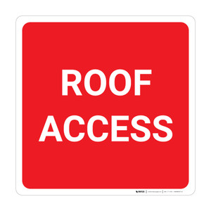 Roof Access Square (Red/White) - Wall Sign