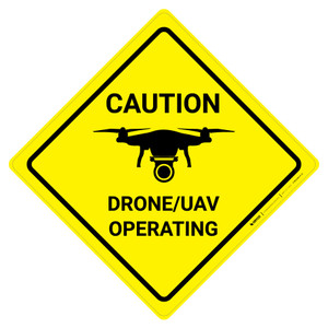Caution - Drone/UAV Operating with Icon Square - Wall Sign