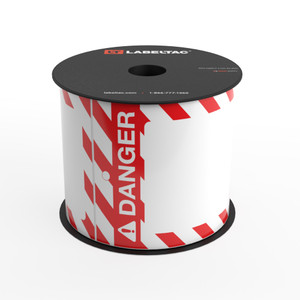 LabelTac® Danger Tag - Safety Red and White Stripes - Printable Tag Roll