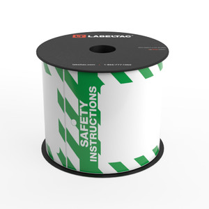 LabelTac® Safety Instructions Tag - Safety Green and White Stripes - Printable Tag Roll