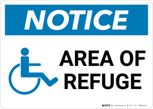 Notice: Area Of Refuge with ADA Icon Landscape