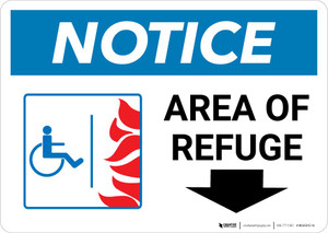 Notice: Area Of Refuge with ADA Fire Icon Down Arrow Landscape
