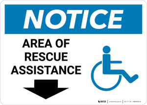 Notice: Area Of Rescue Assistance with ADA Icon and Down Arrow Landscape