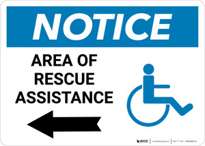 Notice: Area Of Rescue Assistance with ADA Icon and Left Arrow Landscape