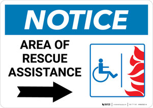 Notice: Area Of Rescue Assistance with ADA Fire Icon Right Arrow Landscape