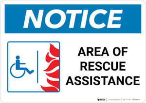 Notice: Area Of Rescue Assistance with ADA Fire Icon Landscape